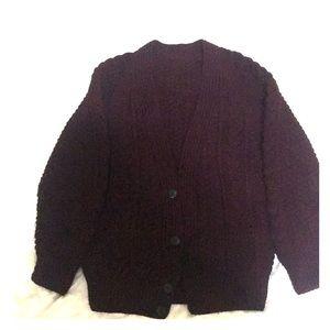 Burgundy Knit-Style Jacket Sweater.